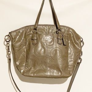 Coach Gray Embossed patent large tote bag